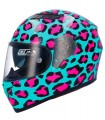 Casco Shiro SH-600 ANIMAL PRINT Turquesa / Fucsia