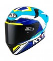 Casco KYT TT Course Grand Prix Blanco Azul