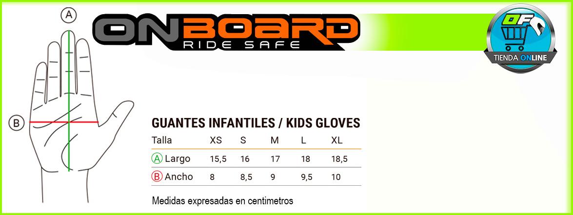 Guía de tallas guantes moto niño